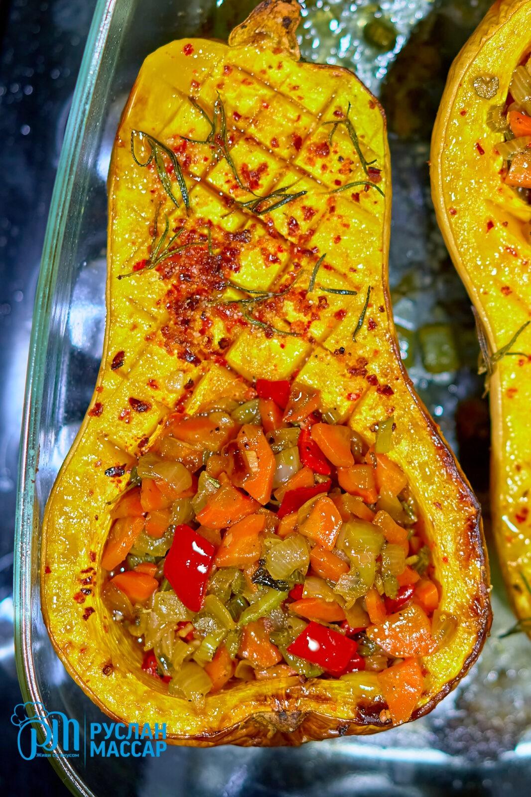You are currently viewing Тыква фаршированная овощами в духовке